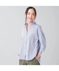 シャツ カジュアル 七分袖 スキッパー衿 綿100% レディース ウィメンズ