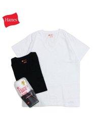 ヘインズ Hanes Tシャツ メンズ レディース ジャパンフィット 半袖 2枚組 Vネック ブラック ホワイト 黒 白 H5325