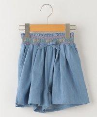 SHIPS KIDS:デニム スモッキング刺繍 キュロット(100~130cm)