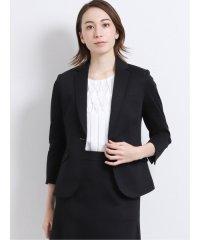 ストレッチウォッシャブル ポンチ2ピーススーツ(1釦ジャケット+フレアスカート)黒