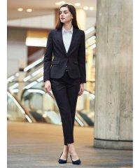 高機能ポリエステル3ピーススーツ(1釦ジャケット+セミフレアスカート+テーパードパンツ)紺ストライプ