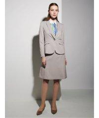 高機能ポリエステル3ピーススーツ(1釦ジャケット+セミフレアスカート+テーパードパンツ)ベージュチェック