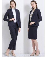 高機能ポリエステル3ピーススーツ (1釦テーラードジャケット+セミフレアスカート+テーパードパンツ)紺カルゼ
