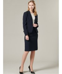 ストレッチウォッシャブル2ピーススーツ(Vカラージャケット+タイトスカート)紺