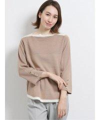 綿タッチ ミラノリブ配色袖釦プルオーバーニット