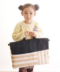 クロリ学習帆布 クロリガクシュウパンプ 帆布とデニムの 防災頭巾カバー カフェラテストライプ