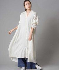 【OMNES Another Edition】製品洗い 綿麻レーヨンAラインロングシャツワンピース