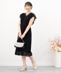 コードレースフリル半袖ドレス
