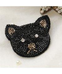 【CITRUS(シトラス)】BRSL カラー2色 刺繍×クリスタル×ビジュー×パール装飾 ネコ 猫 スター 星 ピン ブローチ レディース