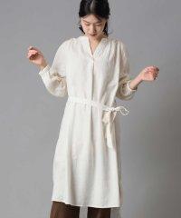 【OMNES Another Edition】製品洗い 綿麻レーヨンギャザーチュニックシャツワンピース