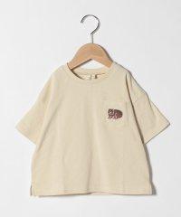 【lagom】アニマル刺繍6分袖Tシャツ