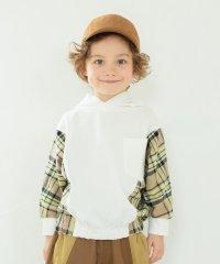 袖チェックフード付きTシャツ(90~150cm)