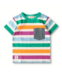 異素材ポケット付きボーダーTシャツ(90~150cm)