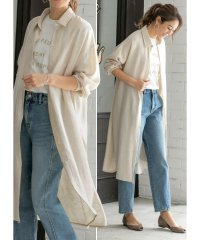 こなれ質感◆リネン混ロングシャツ