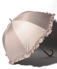 完全遮光 晴雨兼用 長傘 フリル 遮光率100% 遮蔽率100% 1級遮光 遮熱 軽量 UVカットアイスグレージュ×フリル
