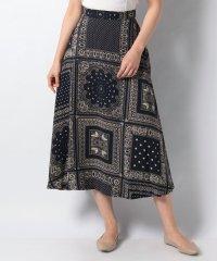 【ROSSO】スカーフ柄フレアスカート