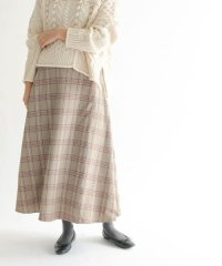 【KBF】WEB限定チェック柄フレアロングスカート