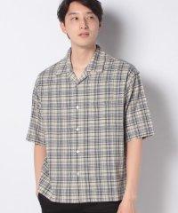 【SENSEOFPLACE】グレンチェックオープンカラーシャツ(5分袖