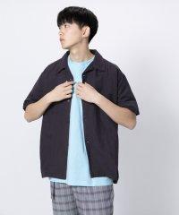 【SENSEOFPLACE】リネンレーヨンオープンカラーシャツ(5分袖)