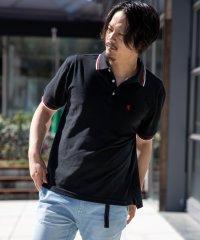 SKKONE ビッグシルエット 鹿の子 ライン使い 刺繍入り 半袖ポロシャツ