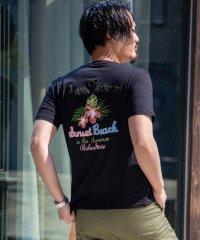 SKKONE サガラ刺繍 ロゴ 刺繍 ハイビスカス ボタニカル 花柄 バックプリント 半袖 Tシャツ カットソー