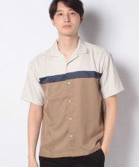 【SENSEOFPLACE】ブロックドオープンカラーシャツ(5分袖)