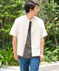 【SonnyLabel】リネン半袖バンドカラーシャツ