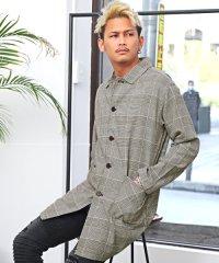 ステンカラーチェックコート/ステンカラーコート メンズ チェック柄 コート 綿麻