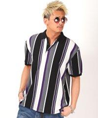 ストライプ柄BIGポロシャツ/ポロシャツ メンズ 半袖 ストライプ ビッグシルエット