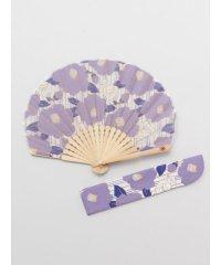 【カヤ】縞椿扇子 袋付き 7XCP0114