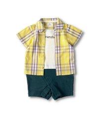 チェックシャツ重ね着風半袖カバーオール(70~80cm)