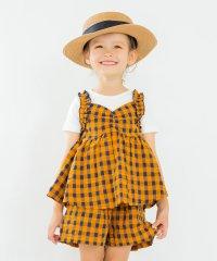 【セットアップ対応商品】チェックキャミドッキング半袖Tシャツ(80~150cm)