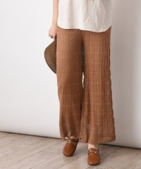 透かし編みワイドパンツ