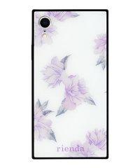iPhoneXR rienda 背面ガラスケース [ワントーンフラワー/White]