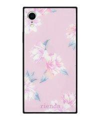 iPhoneXR rienda 背面ガラスケース [ワントーンフラワー/Pink]