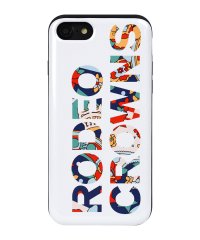 iPhone8/7兼用/RODEOCROWNS [ロゴフラワー/WHITE] カード収納型背面ケース