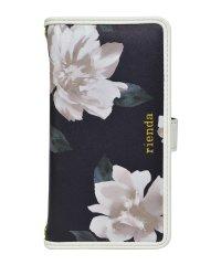 多機種対応マルチ手帳ケース rienda[パイピング/Lace Flower/ネイビー]手帳ケース