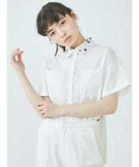 floralスパンコールカラーシャツ