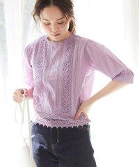 【WEB限定】綿ローンレース付きボリューム袖ブラウス