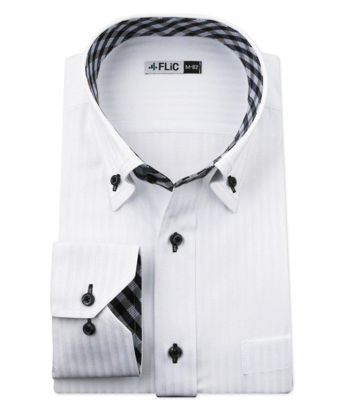 (FLiC/フリック)ワイシャツ メンズ デザイン ボタンダウン 長袖 形態安定 シャツ ドレスシャツ ビジネス ノーマル スリム yシャツ カッターシャツ 定番 ドビー 織柄 おし/メンズ その他