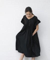 ウエストシャーリングフリルスリーブドレス