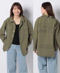 後ろドット釦バックプリントオーバーサイズビッグシルエットCPOシャツジャケット