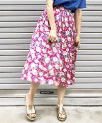 手描き風花柄スカート