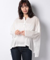 【mizuiro ind】Lacknow embroidery henry neck shirt