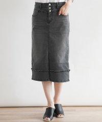 [soeur7] ストレッチ ブラックデニム セミタイトスカート