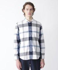 コットンリネンクレストブリッジチェックシャツ