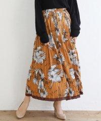 花柄配色プリーツスカート