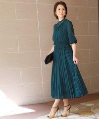 ウエストシャーリング ロングワンピースドレス