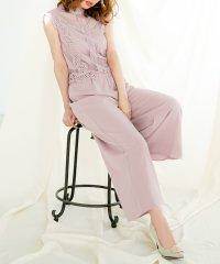 ハイネックレーストップス切替オールインワン /510637 オールインワン フォーマル 結婚式 パンツドレス ワイドパンツ レディース きれいめ フレアパンツ
