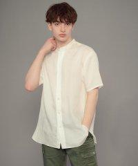 【洗える】スタンドカラーショートスリーブシャツ